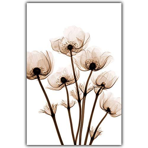 wwttoo Elegante Moderne Poesie 3 Stücke Transparente Blume A4 Leinwand Malerei Kunstdruck Poster Foto Einfache Wand Decor-70x100 cm Kein Rahmen 2