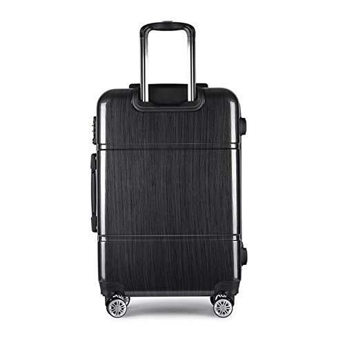 HONGSHENG Solid Color Business Aluminum Frame gebürstet Muster Universal Wheeled Trolley Case,Black Wheeled Carry Case