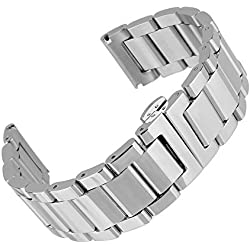 Beauty7 24mm Stainless Steel Bracelet Watch Band Strap Double Clasp Three Strains Curved End Solid Links Color Silver 7.08 Inches 18Cm Women Ladies Girls Watch Accessary Jewelry
