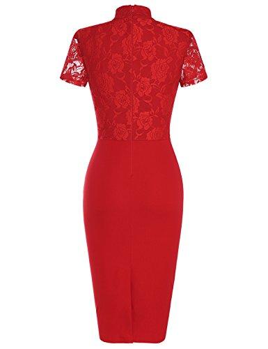 MUXXN Jupe fourreau femme de style classique et de l'annee 50 dentelle elastique red