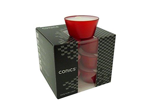 12 Teelichter im Acryl Cup, Conics - 100% Pure Light, Rubin Rot, ca. 7 Stunden Brenndauer, matt - transparente Hülle, Acrylbecher, Premium Qualität, Wenzel Kerzen