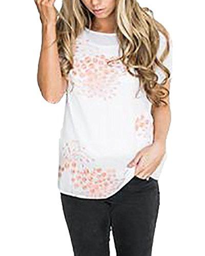 Auxo Damen Kurzarm Printing Sommer Lose Party Club Oversize T-Shirt Oberteil Tops Weiß