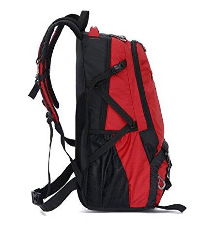 Outdoor Reise Schulter Tasche Einfacher Wasserdicht Sport Rucksack 55L Red