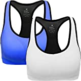 ANGOOL Damen Komfort Klassische Racerback Sport BH Top Fuer Yoga Fitness-Training, Blau + Weiß, XL Fit 85DD 90D 90DD 95BC 95D in
