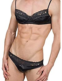 876aadce34a HIMEALAVO Men s Smooth Satin And lace