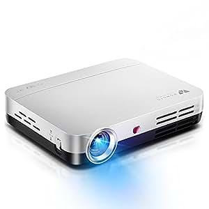 WOWOTO Vidéo Projecteur, 3500Lumens 1280x800 résolution HD vidéoprojecteur, Android 4.4, LED projecteur avec Correction du trapeze, HDMI, Wi-Fi et Bluetooth (H9, Blanc)
