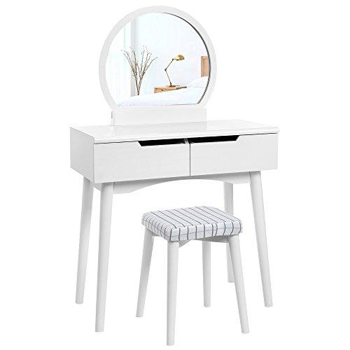 Songmics Modern Schminktisch 'Sunflower',2 groB schubladen mit Schienen,Kosmetiktisch mit rundem Spiegel und Hocker, frisiertisch Frisierkommode weiß RDT11W