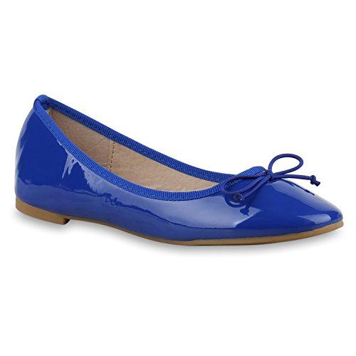 Klassische Damen Ballerinas Lederoptik Basic Freizeit Schuhe Übergrössen Blau