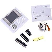 KKmoon Digital Timbre Mirilla para Puerta (0.3MP Cámara, Visión Nocturna, Tarjera Micro-SD 2GB Incorporado, Pantalla LCD, Grabación Mensajes), Blanco