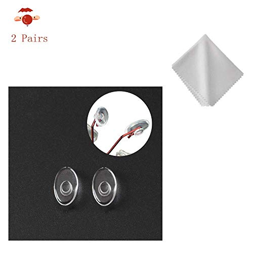 BEHLINE 2 Pairs Silicone Replacement Nose Pads for Silhouette Rimless Glasses Eyewear Bonus Cleaning Cloth,Clear