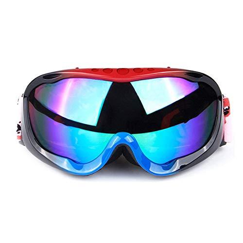 Gnzoe TPU Snowboardbrille Zweilagige Anti-Fog PC Objektiv Skibrille Schneebrille Sportbrille für Skifahren Schneemobil Skaten/Rot Schwarz Blau