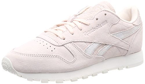 Reebok Damen Classic Leather Shimmer Sneaker, Pale Matte Chalk pink/Silver, 41 EU -