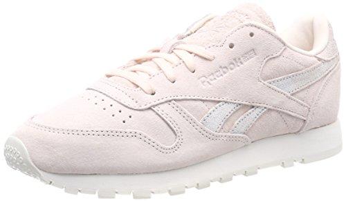 Reebok CL LTHR Shimmer, Zapatillas de Deporte para Mujer, Rosa (Pale Pink/Matte Silver/Chalk 000), 36 EU