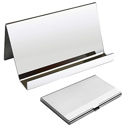 YuCool Visitenkarten-Organizer-Rack, Desktop-Karten-Ausstellungskartenkasten +1 Edelstahl-Visitenkartenhalter + Graues Reinigungstuch für Office Business Using-Silver