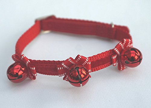 ANCOL CHRISTMAS CAT COLLAR WITH VELVET STRIPE BOWS AND BELLS IN RED FESTIVE SAFETY CAT COLLAR