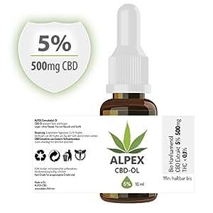 CBD-Öl 5 Prozent 10ml - in Bio-Hanföl gelöst - CBD Produkt höchster Qualität
