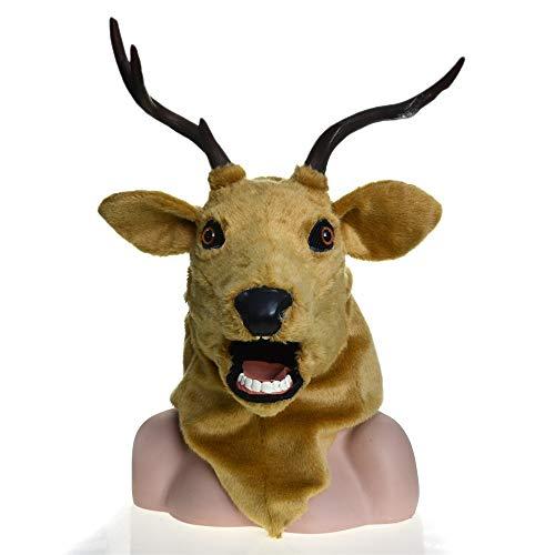 OYWNF Máscara Realista Hecha a Mano de la Cabeza de los Ciervos, máscara Animal de la Mascarada de la simulación con la Boca móvil (Color : Brown)