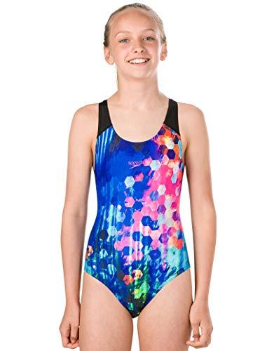 Speedo Mädchen PopFlash Placement Digital Spashback Badeanzug Schwarz/New Surf/Rosa-Violett 34