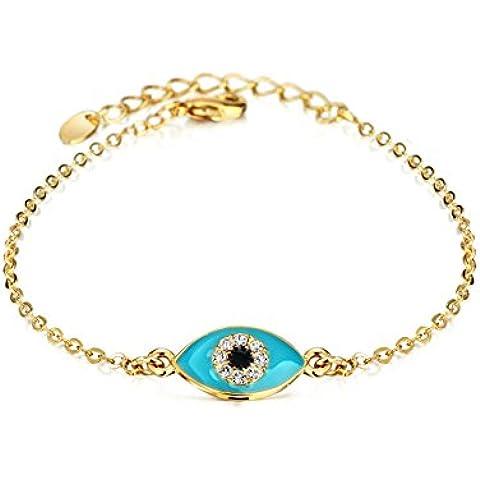 Fansing Mujeres Chapado en oro Azul Ojos malvados con diamantes de imitación pulseras de los brazaletes Buena suerte 17+3cm
