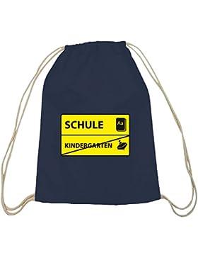 Shirtstreet24, Kindergarten - Schule, Schulanfänger Baumwoll natur Turnbeutel Rucksack Sport Beutel