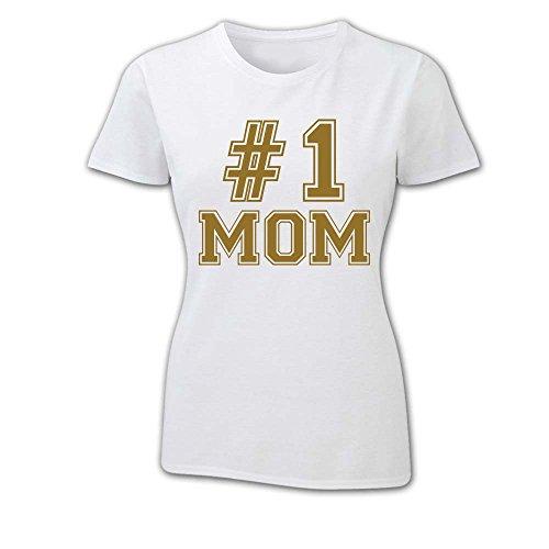 T Shirt Donna Idea Per La Mamma Number One BIANCA Oro