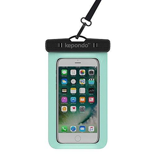 """Kepondo Wasserdichte Handyhülle Tasche Beutel, Schneegeschützt Tauchen, IPX8-zertifiziert (30m Tiefe), für iPhone X, 8, 8 Plus, 7, 7 Plus, Samsung Galaxy S9, S8, jedes Gerät bis zu 6.0"""" (Grün)"""