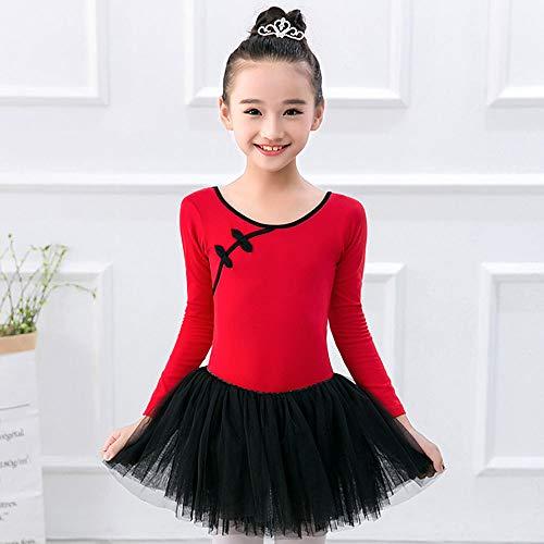 MARXHOT Girls Princess Long Sleeve Ballet Dance Kostüme Leotard Dresses Black Tutu Wrap Rock für Kinder 6-15 Jahre,Red,160CM (Tutu Red Kinder)