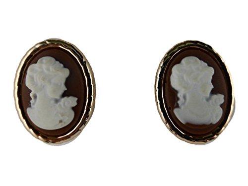 Ausgefallene Stecker Ohrringe Gemme Kamee Kunststoff schwarz weiß Statement 6353