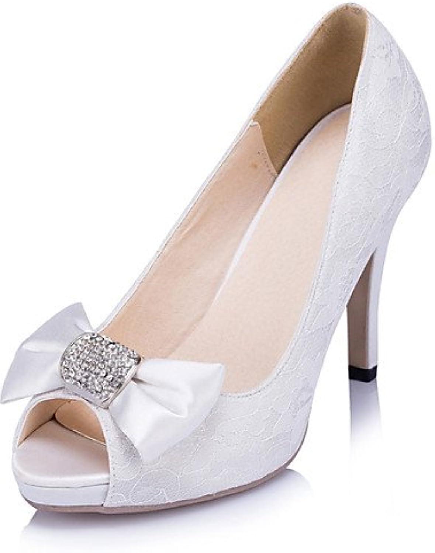 ZQ Zapatos de boda-Tacones-Tacones / Punta Abierta-Boda / Vestido / Fiesta y Noche-Marfil / Blanco-Mujer , 4in...