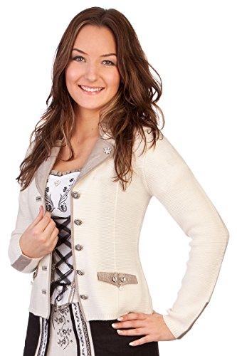 Damen Trachten Strickjanker - PENZBERG - braun, rot, schwarz, wollweiß , Größe M