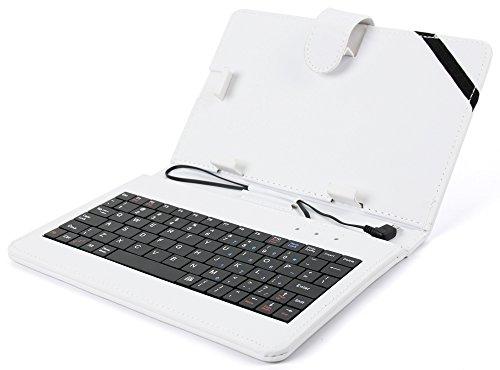 DuraGadget Weiße Schutzhülle Etui Tasche Case aus Premium Lederimitat mit integrierter Tastatur / Keyboard für Odys Xelio PhoneTab 7 | Junior Tab 8 Pro | Syno (X610111) | Maven 7 | Mira | Orbit LTE | Pro Q8 | Xelio Phone Tab 3 LTE Tablets - ENGLISCHE QWERTY Belegung