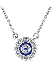 Collar con colgante de ojo turco redondo azul de plata de ley 925 con circonita cúbica