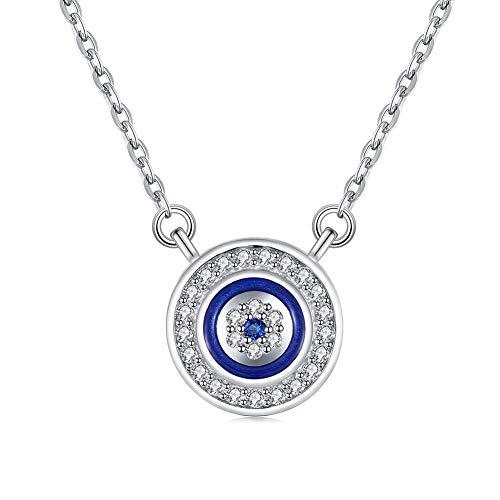 Collar con colgante de ojo turco redondo azul de plata de ley 925 con circonita cubica ajustable de 40,6 cm + 5 cm