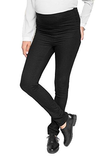 Love2Wait Damen Umstandshose Schwangerschafts-Jeans Jeggins SOPHIA - stützendes Bauchband normaler Bund super-stretch Straight-Fit washed schwarz - W28/L32 (Gr. 34)