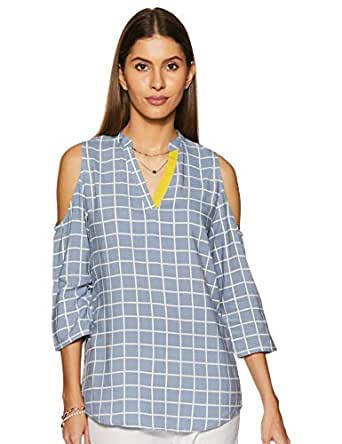 Amazon Brand - Myx Women's Checkered Regular fit Top (SS19MYXTP001A_Blue_X-Small)