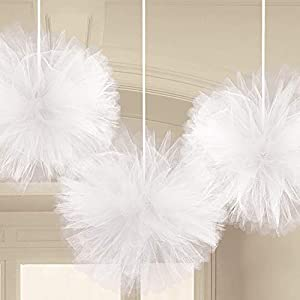 Amscan International-180182-08de tul de peluche blanco Kit de decoración