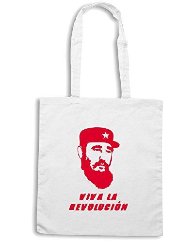 T-Shirtshock - Borsa Shopping TCO0136 fidel castro viva la revolucion Bianco