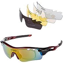 Gafas de sol, LOFTWELL Gafas de sol deportivas polarizadas con 5 lentes intercambiables para Hombres Mujeres Gafas para correr ciclismo