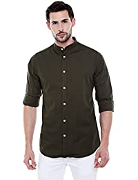 Dennis Lingo Men's Solid Chinese Collar Green Casual Shirt