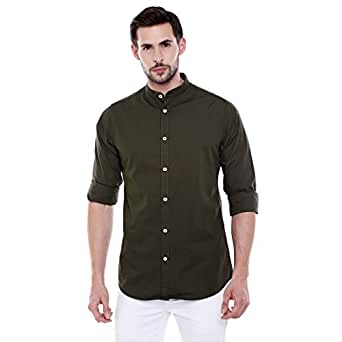 Dennis Lingo Men's Plain Slim Fit Casual Shirt (CC201_Green_Small)