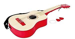 Hape - E0325 - Instrument de Musique en Bois - Guitare Rouge