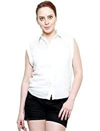 I AM FOR YOU Cotton Dobby Shirt With Folded Sleeves For Women