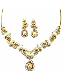 Blooming Pearls Necklace Set In CZ Crystal Diamonds With Gold & Rhodium Plated By Sempre Of London