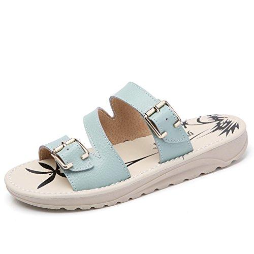 Étés fond plat shoes/Pantoufles en cuir étrangères B