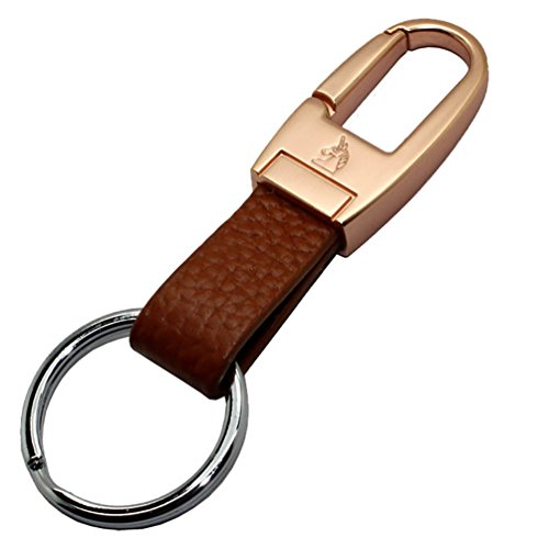 Portachiavi per auto, Liangery Key Ring Chains con Design speciale a doppio anello in lega di zinco Materiale cintura stile, lega di zinco, Gold