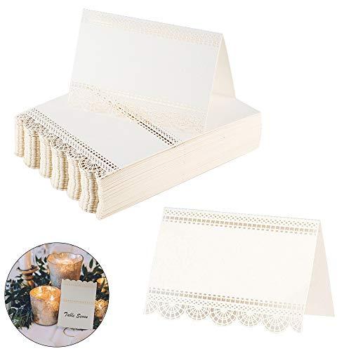 Mizomor 100 pz segnaposto carta da tavolo 12 x 9cm cartellini segnatavolo di carta avorio perlato segnabicchiere decorazioni segnaposti per martimoni festa compleanno banchetti battesimo
