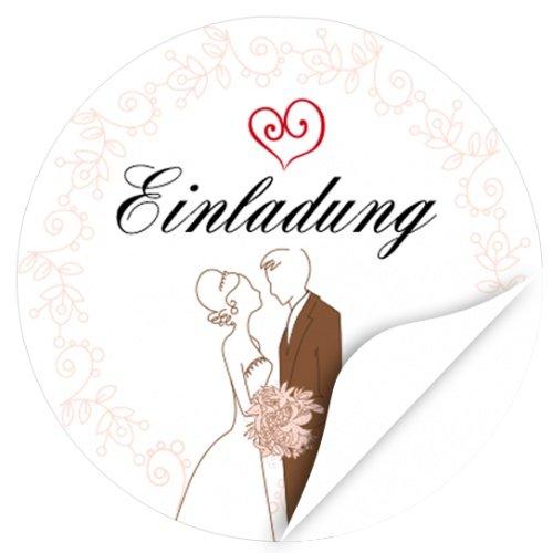 rund / Einladung / Hochzeitspaar gezeichnet / Hochzeit / Liebe / Heirat / Aufkleber / Sticker / für Einladungen / Feiern ()