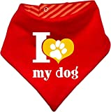 Hunde Wende- Halstuch (Fb: rot-orange) (Gr.2 - HU bis 38 cm) I love my dog