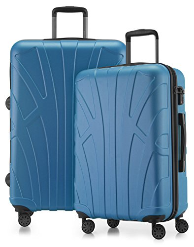Suitline - 2er Koffer-Set Trolley-Set Rollkoffer Hartschalen-Koffer Reisekoffer, TSA, (66 cm, 76 cm), 100% ABS, Matt, Cyanblau