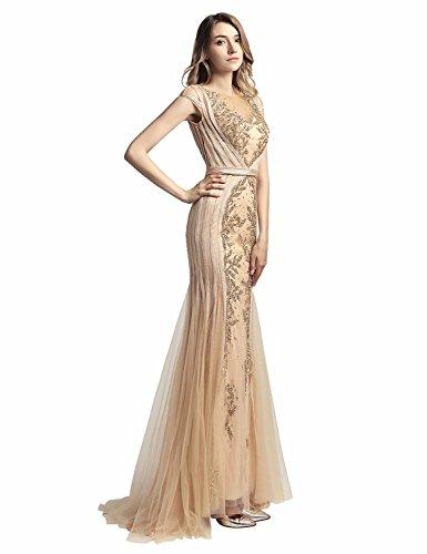 Sarahbridal Damen Lang Mermaid Tuell Abendkleider Perlen Paillette Ballkleid Partykleider Elegant...